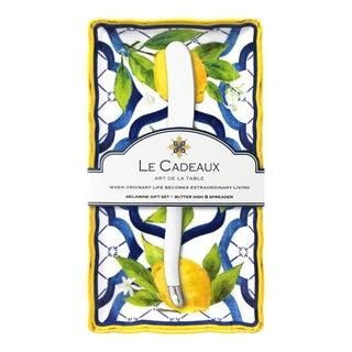 Lemon Palermo Melamine Butter Dish Gift Set with Laguiole Melamine Butter Spreader, Set of 2 For Sale