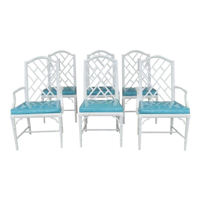 1970s Chinese Century Furniture Faux Bamboo Lattice Back Dining Chairs - Set of 6 For Sale