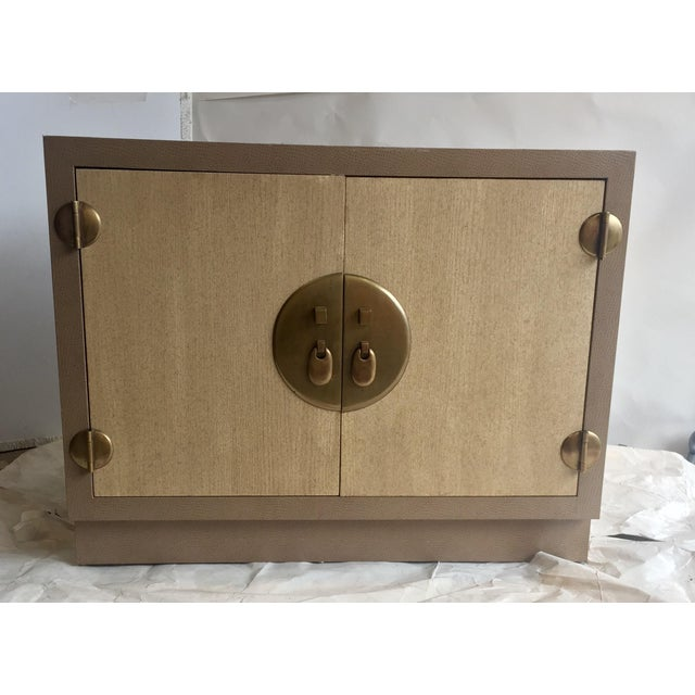 Marge Carson Ostrich Skin & Brass Accent Cabinet - Image 2 of 8