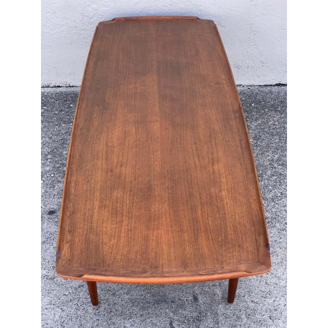 Wood Ib-Kofod Larsen, Two-Tier Teak Surfboard Coffee Table With Caned Shelf For Sale - Image 7 of 10