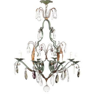 Vintage French 8-Light Painted Iron and Crystal Chandelier For Sale