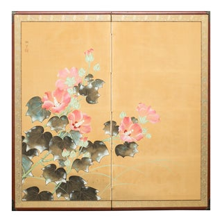 Early 20th Century Vintage Japanese Hibiscus Flowers Two Panel Screen For Sale