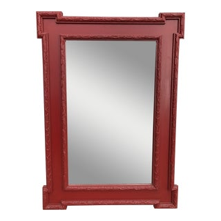 1940s Antique Beveled Pine Key Corner Wall Mirror For Sale