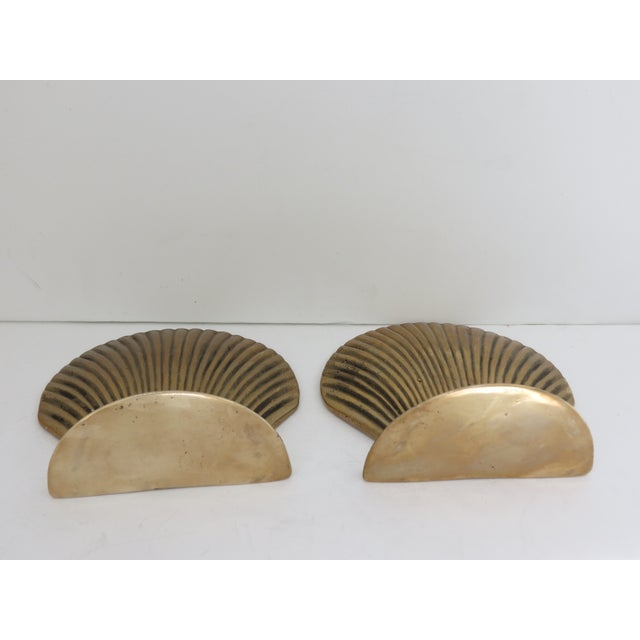 Vintage Brass Seashell Bookends - A Pair - Image 4 of 7