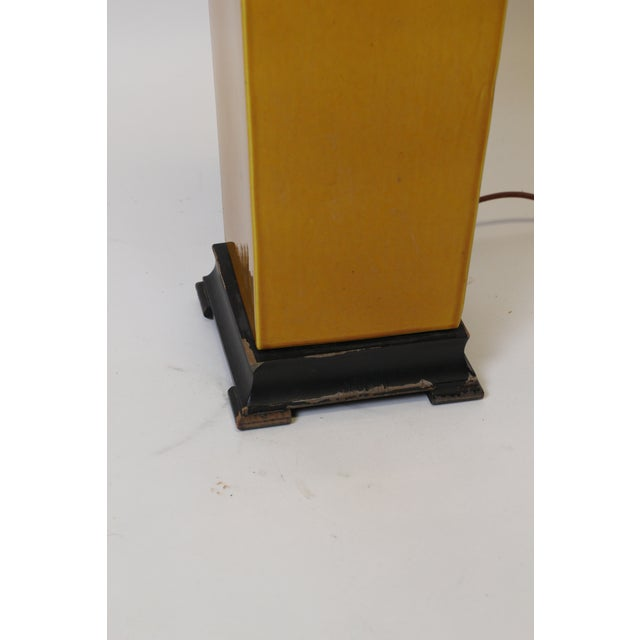 1950s Square Vase Mustard Lamp For Sale - Image 5 of 9