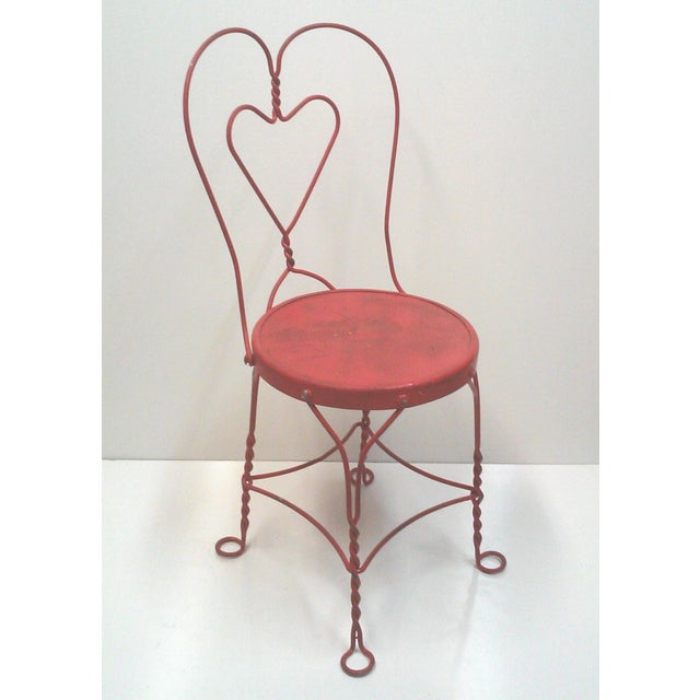 Red Iron Ice Cream Cafe Chair - Image 5 of 10