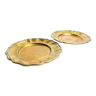Vintage Mid Century Solid Brass Floral Shape Plates - Set of 2 For Sale