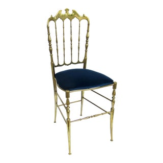 C.1950s Italian Giuseppe Gaetano Descalzi Brass Chiavari Chair Accent Chair W/Blue Velvet Mohair Upholstery For Sale
