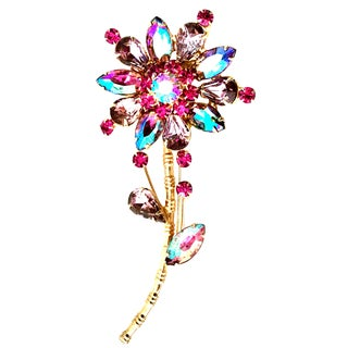 20th Century Gold Plate & Austrian Crystal Flower Brooch For Sale