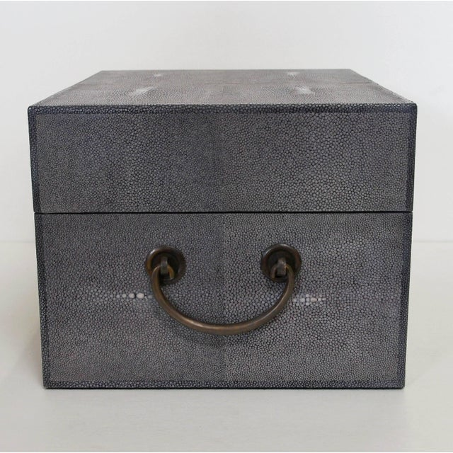 Italian Gray Shagreen Wood Box For Sale - Image 3 of 8