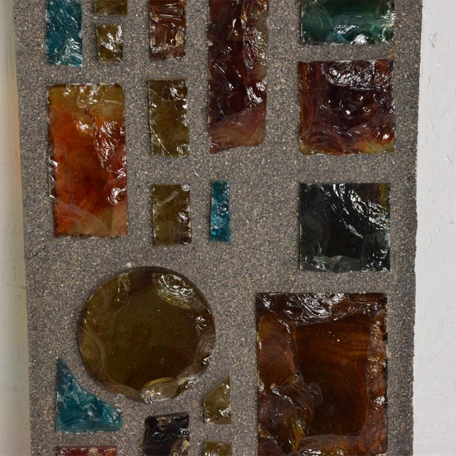 Brutalist Period Architectural Wall Art Colored Glass Panel For Sale In San Diego - Image 6 of 10