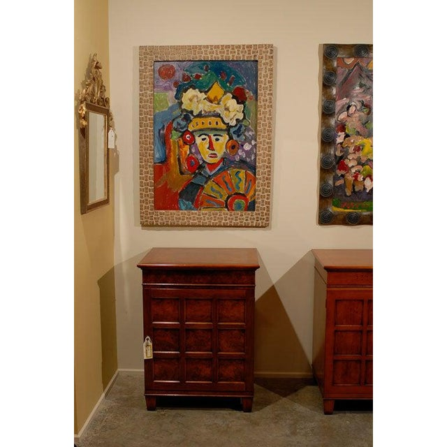 Mid-Century Modern Fauvist Oil on Board Abstract Painting by Hungarian Artist Miklos Nemeth For Sale - Image 3 of 8