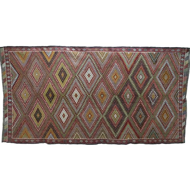 "Vintage Turkish Kilim Embroidered Rug-5'10'x11'3"" For Sale"