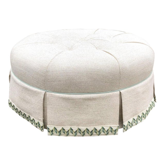 Scalamandre Round Tufted Skirted Ottoman For Sale