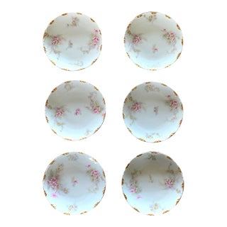 French Limoges Small Fine China Bowls, Tiny Pink & Gold Flowers For Sale