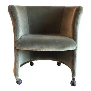 Vintage Rounded Club Chair on Casters For Sale