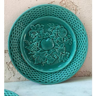 1890 French Green Majolica Fruits Plate Preview