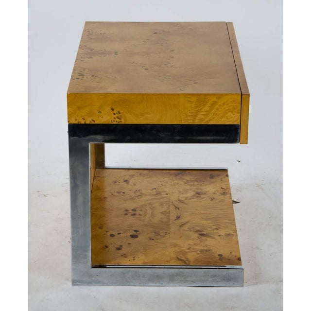 1990s Modern Burl Walnut Nightstand Side Table For Sale - Image 11 of 13