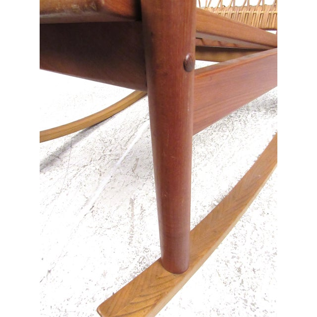 Scandinavian Modern Teak and Cane Rocking Chair by Hans Olsen For Sale - Image 9 of 13