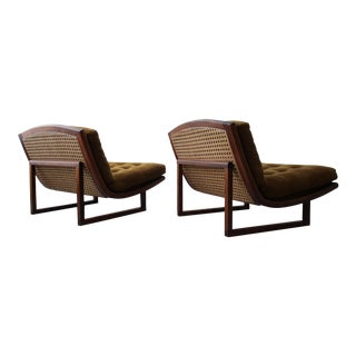Mid Century Walnut & Cane Armless Scoop Lounge Chairs - a Pair For Sale