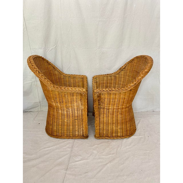 Vintage Woven Wicker Chairs With Braided Trim - a Pair For Sale - Image 4 of 13