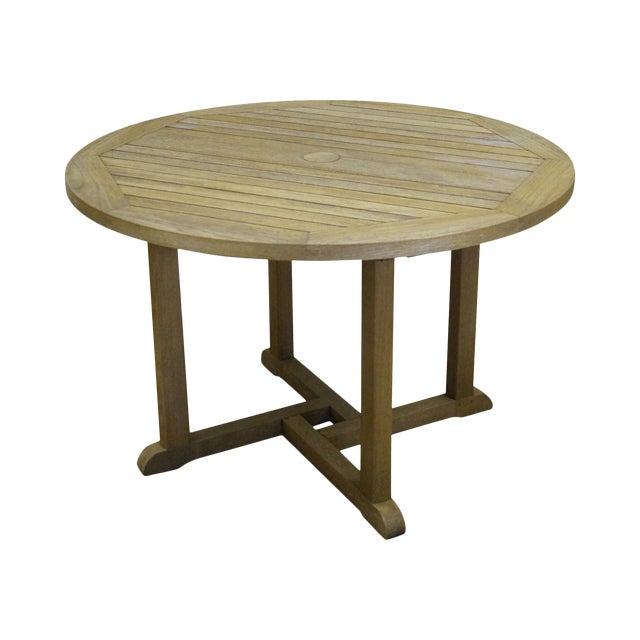 Barlow Tyrie Teak Outdoor Waveney Round Dining Table Chairish - Teak outdoor end table