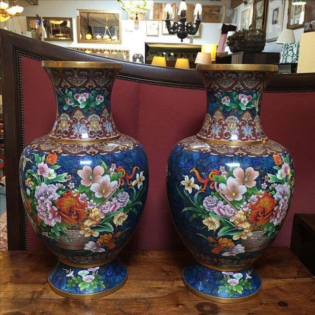 Chinese Cloisonne Style Vases - A Pair - Image 2 of 11