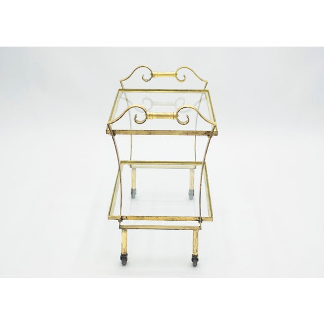 French Neoclassical Maison Ramsay Gilded Iron Bar Cart 1940s For Sale - Image 6 of 12
