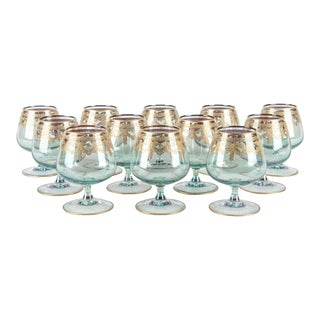 Vintage Murano Crystal Brandy / Snifter Set 12 Pieces For Sale