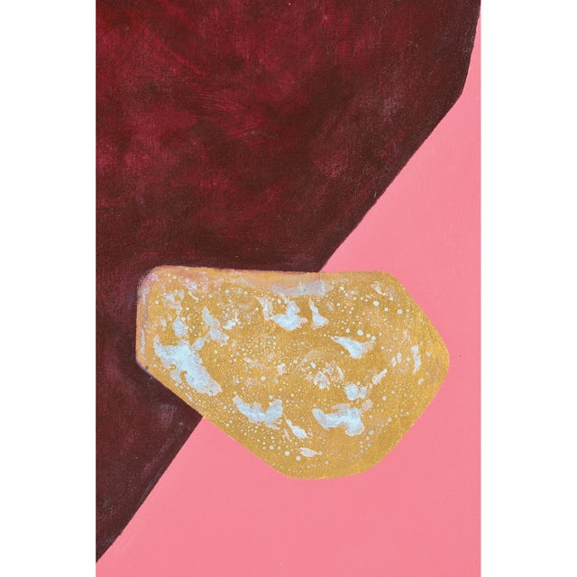 Modern Martina Pink Hand Painted Canvas With Gold Leaf Accents For Sale - Image 3 of 5