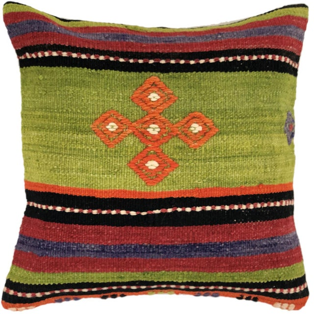 """Mid-Century Modern Cheerful Chartreuse Kilim Pillow 