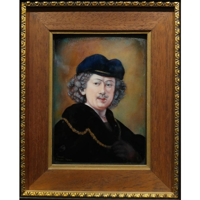 Early 20th Century Faure Limoges - Rembrandt Self Portrait - French Enamel Painting on Copper For Sale - Image 5 of 9