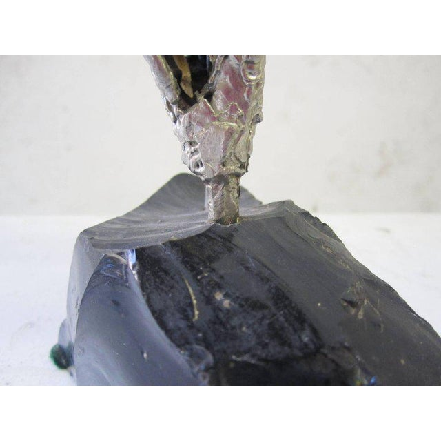 Lead Abstract Sculpture with Obsidian Base and Agate Inserts For Sale In Los Angeles - Image 6 of 7