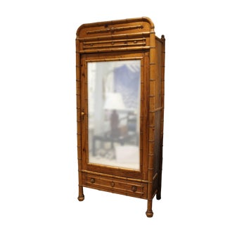 19th Century Traditional Faux Pine Bamboo Mirror Wardrobe For Sale