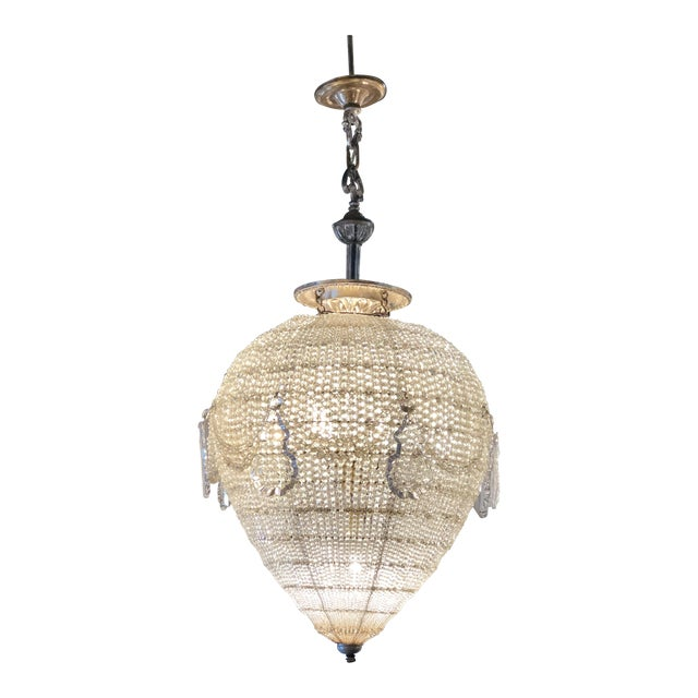 French Inverted Pear Form Beaded Chandelier Circa 1900 For Sale