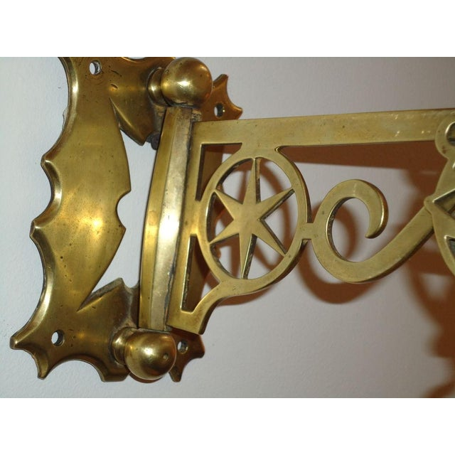 19th Century Rare New England Brass Wall Bracket with Hearts & Stars For Sale - Image 9 of 9