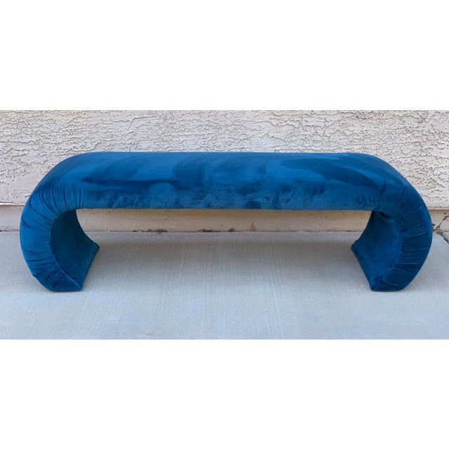 This stunning waterfall bench is ready for a new home. Reupholstered in vivid teal velvet complete with new foam and...