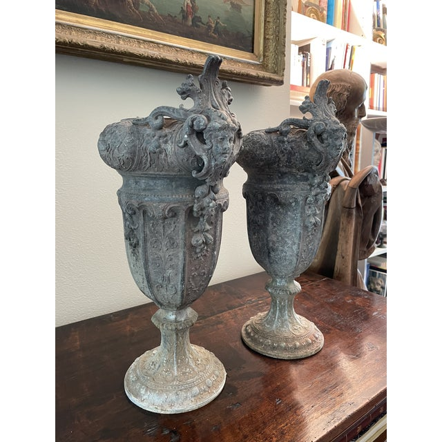 French 19th Century Zinc Renaissance Revival Rococo Garden Vase Planters - A Pair For Sale - Image 4 of 13