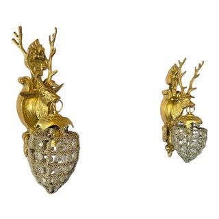 Contemporary French Louis XVI Deer Head Sconces - a Pair For Sale