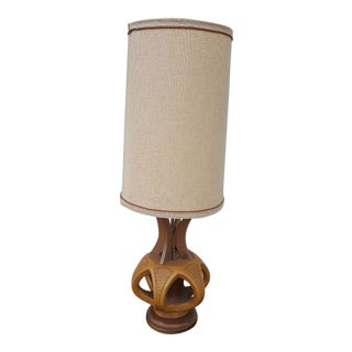 Plasto Mfg Co. Mid-Century Danish Chalkware & Walnut Table Lamp For Sale