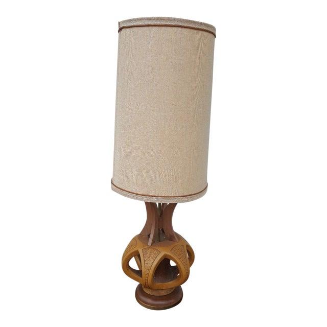 Plasto Mfg Co. Mid-Century Danish Chalkware & Walnut Table Lamp For Sale