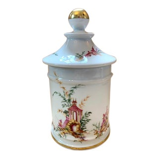 Mid 20th Century Limoges Chinoiserie Porcelain & Gilt Tea Caddy/Canister/Biscuit Holder For Sale