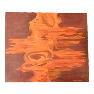 Mid Century Original Abstract Oil Painting For Sale