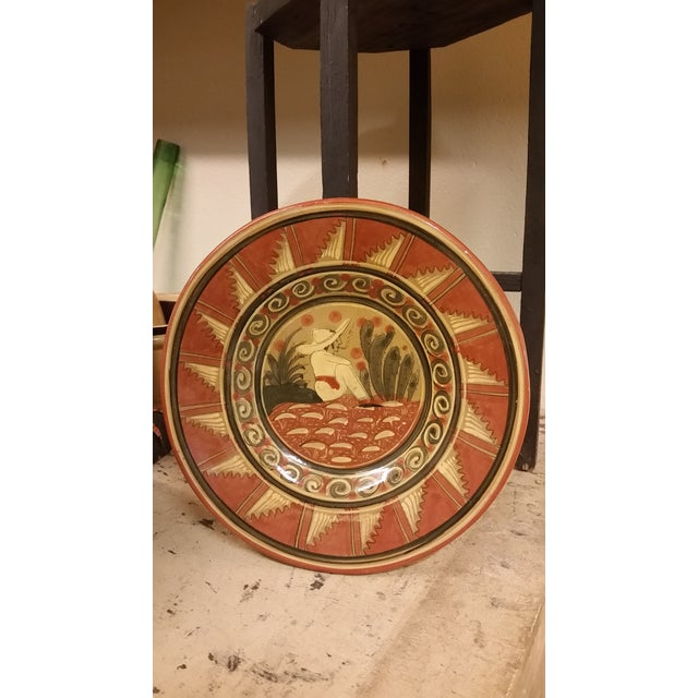 Vintage Mexican Pottery Sitting Mexican Plate For Sale - Image 4 of 4