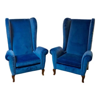 Blue Wingback Chairs - A Pair For Sale
