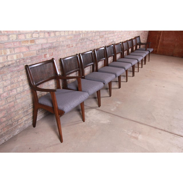 "An exceptional set of ten mid-century modern sculpted walnut dining chairs By John Van Koert for Drexel ""Profile""..."
