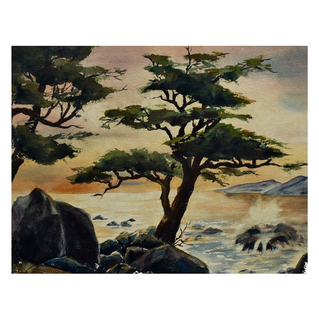 Robert Price Watercolor of Point Lobos Sunset For Sale