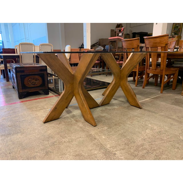 West Elm Double Pedestal Wood X Base + Glass Top Table For Sale In San Francisco - Image 6 of 8