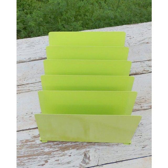 Desk Office Organizer Mail Sorter Letter Holder Lime Green Decor Inbox Bill Slot File Box Metal Desktop Filing System Home...