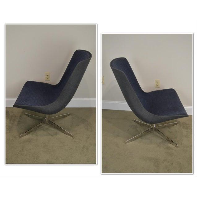 *STORE ITEM #: 19045 Monica Forster for Bernhardt Pair of Chrome Base Swivel Vika Lounge Chairs AGE / ORIGIN: 2007,...